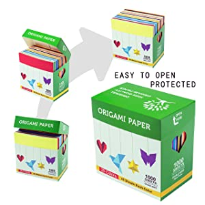 BUBU Origami Paper 1000 Sheets 6 Inch Square Double Sided Color 25 Vivid Colors for Beginners Trainning and School Craft Lessons