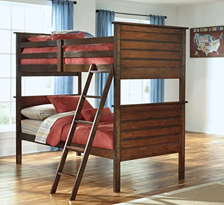 Ashley B56759P59R59S Ladiville Collection Twin Size Bunk Bed with Saw Distress Effect Veneer and Hardwood Solids in Rustic