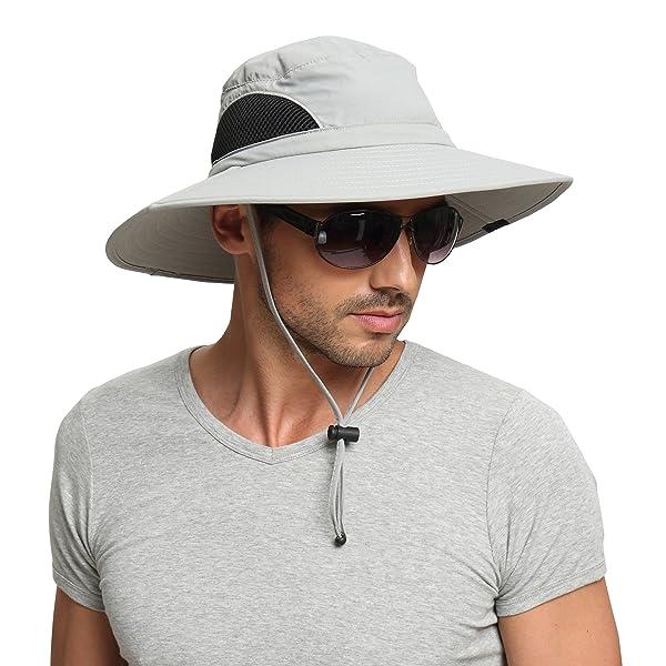 359d0222 EINSKEY Men's Wide Brim Sun Hat, Waterproof Sun Protection Bucket Hat  Boonie Safari Cap for Summer Outdoor Fishing ...