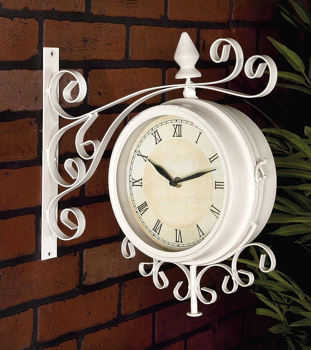 Deco 79 35411 Metal Outdoor Double Clock, 15 by 15-Inch