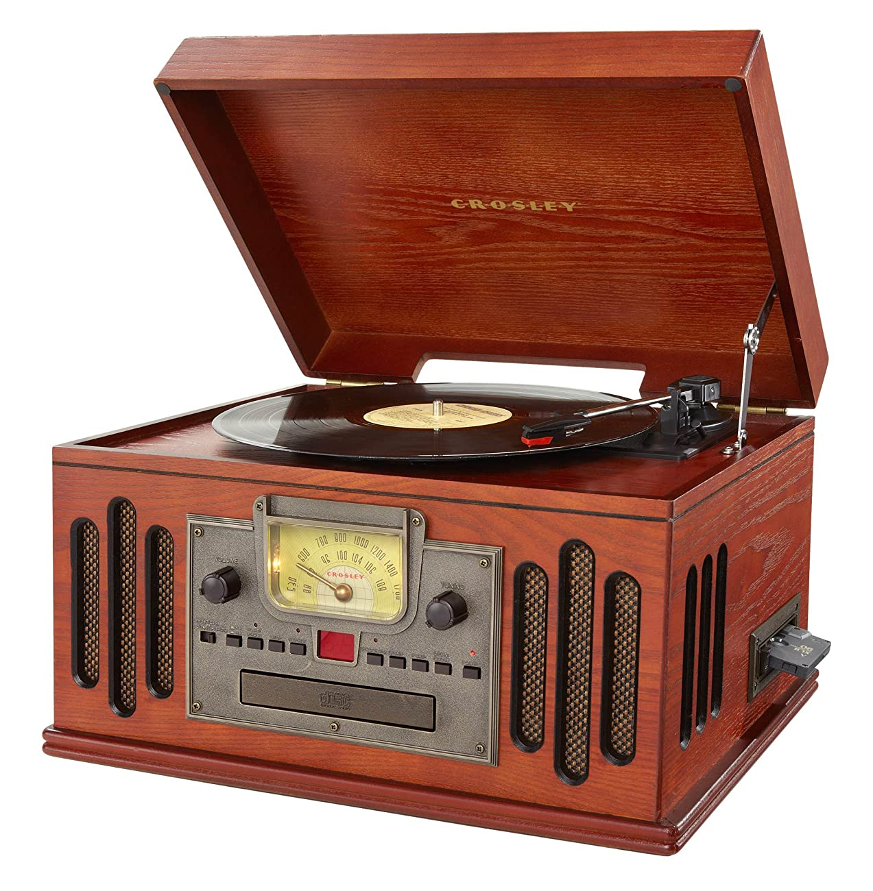 Crosley CR704C-PA Musician Turntable with Radio, CD Player, Cassette and Aux-In, Paprika 2