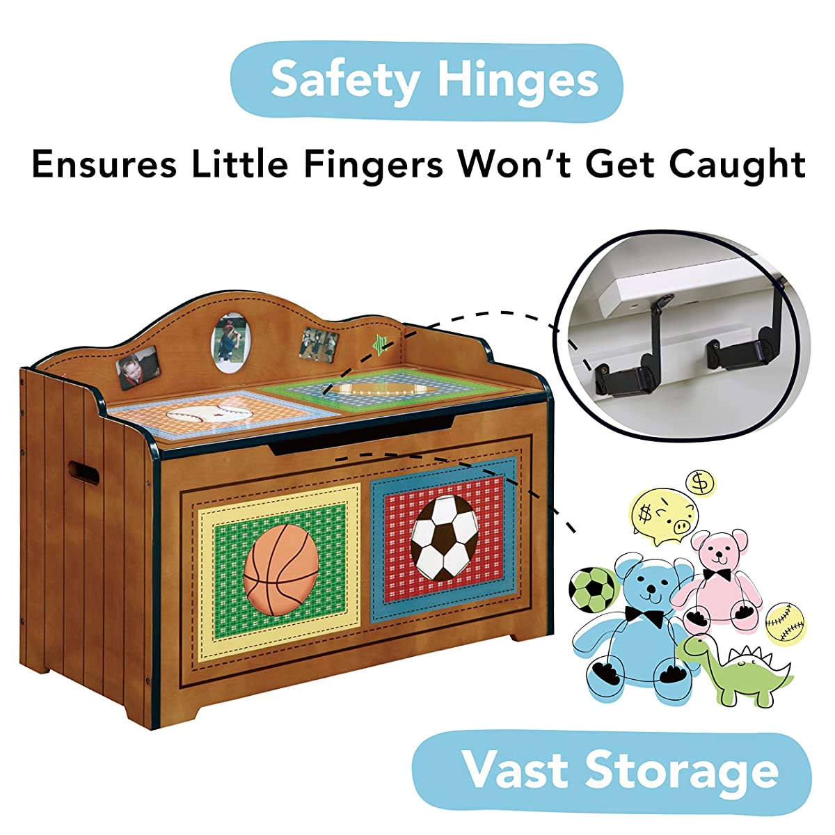 Wooden Toy Chest with Safety Hinges Imagination Inspiring Hand Crafted