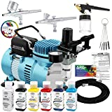 Master Airbrush Cool Runner II Dual Fan Air Compressor Professional Airbrushing System Kit with 3 Airbrushes, Testors Aztek 6 Primary Colors Acrylic Paint Set, Holder, Color Mixing Wheel, How-To Guide