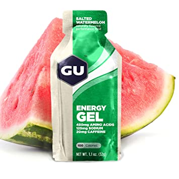 GU Energy Gel, Salted Watermelon (salzige Wassermelone), Box mit 24 x 32 g