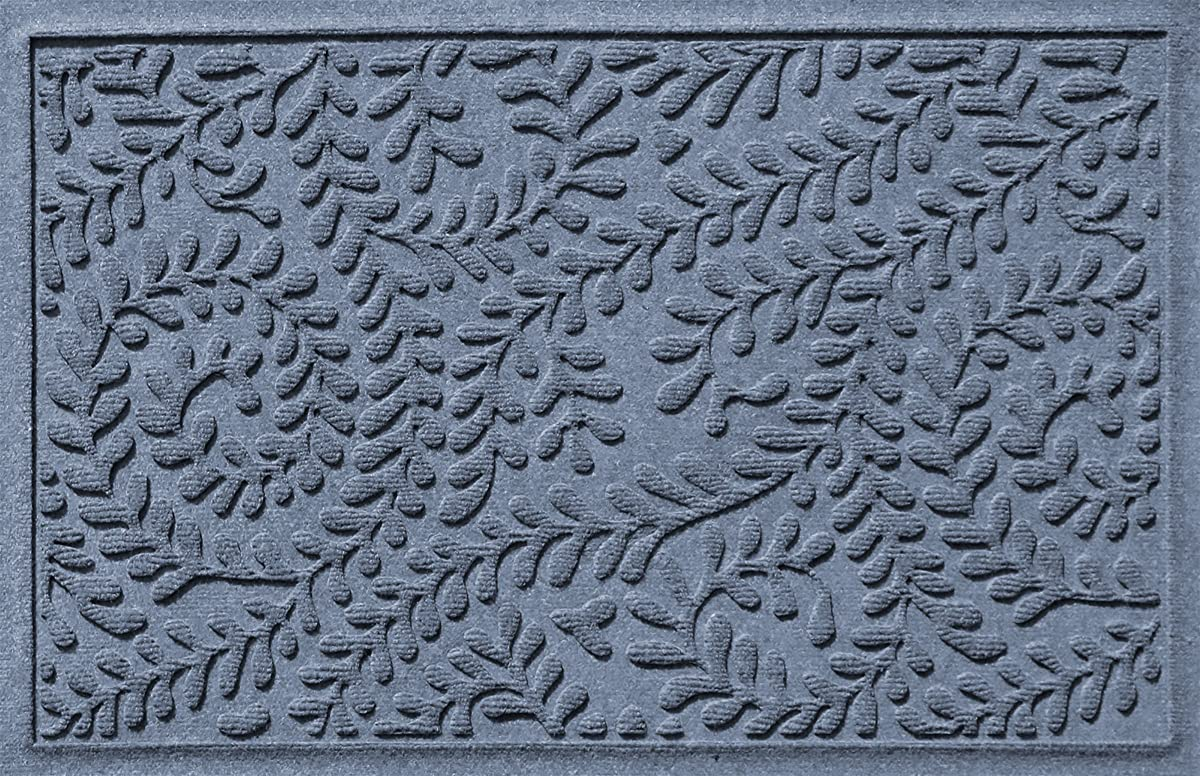 Bungalow Flooring Waterhog Doormat, 2 x 3, Skid Resistant, Easy to Clean, Catches Water and Debris, Boxwood Collection, Bluestone