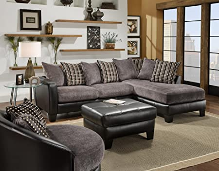 Chelsea Home Furniture Oliver 2-Piece Sectional, San Marino Ebony/Fife Grey Bingo Black