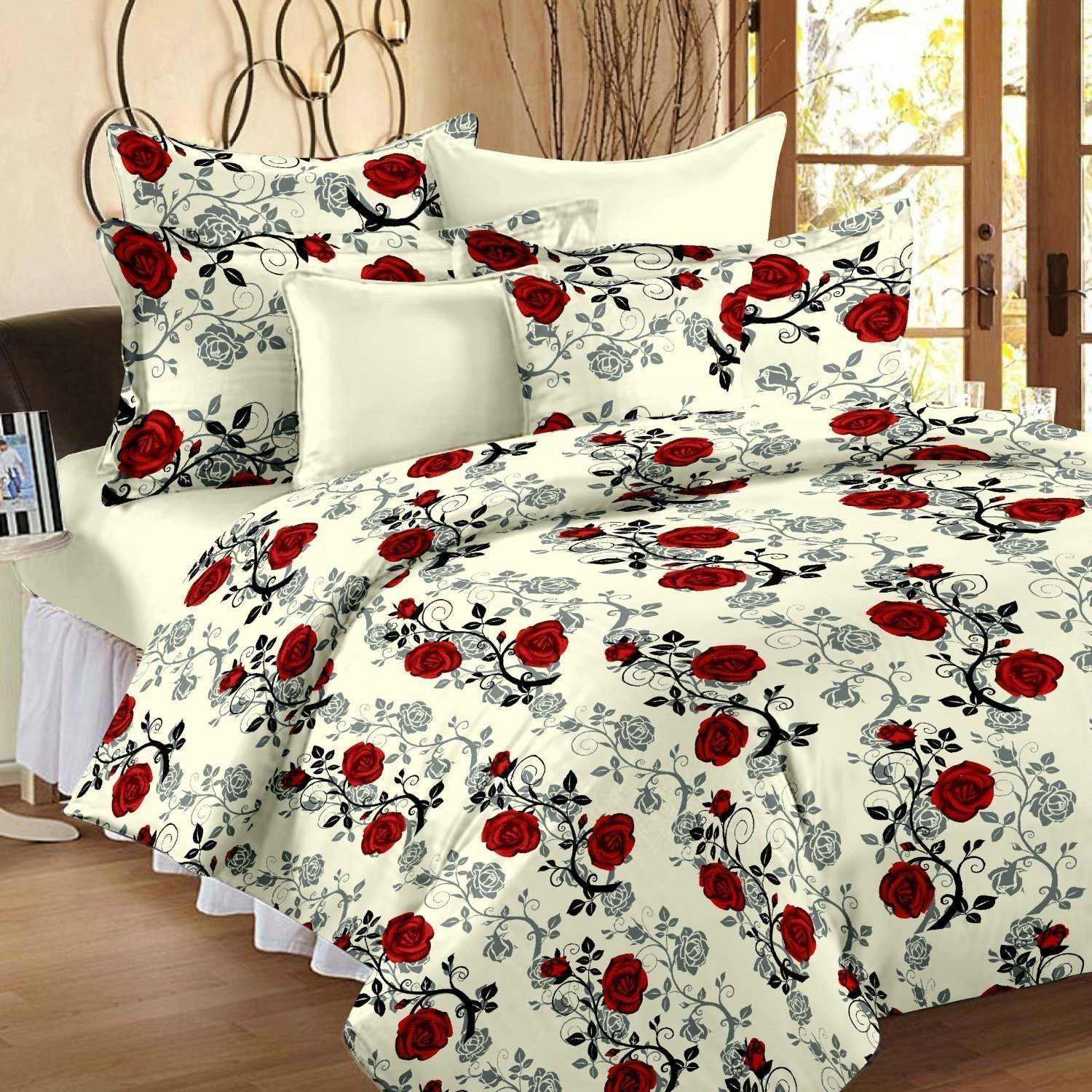 Bed sheets with price - Ahmedabad Cotton Floral 136 Tc Cotton Double Bedsheet With 2 Pillow Covers Checkered Beige And Red