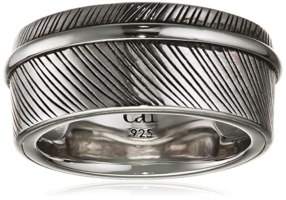 Caï Men's Feather Spirit Partially Rhodium-Plated 925 Sterling Silver Ring 58 (18.5) C4199R/90/00/58