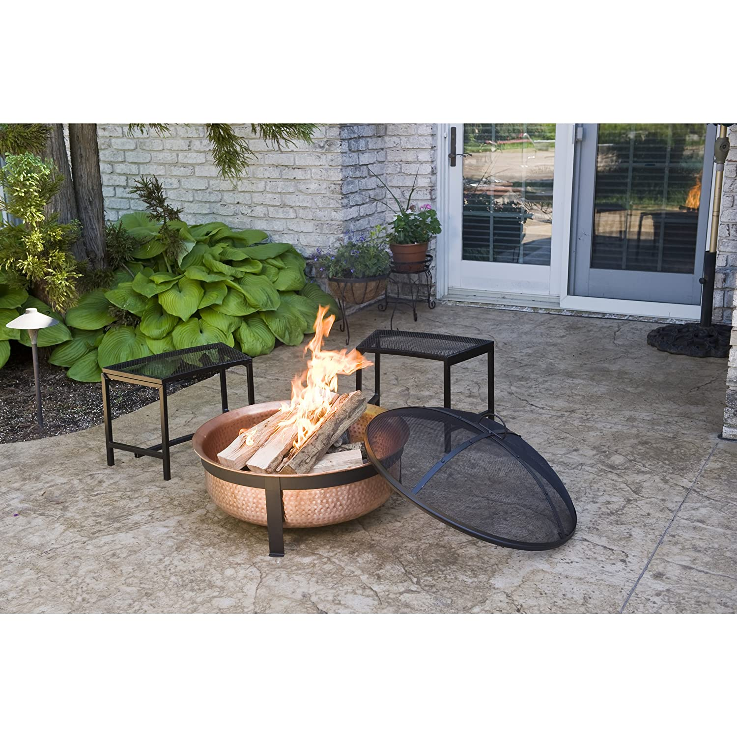 CobraCo SH101 Hand Hammered 100% Copper Fire Pit with Screen and Cover