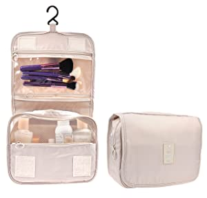Cosmetic Makeup Bag Case Hanging Toiletry Bag Travel Organizer Travel Kit for Women Men Cream Beige