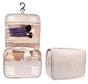 Cosmetic Makeup Bag Case Hanging Toiletry Bag Travel Organizer Travel Kit for Women Men Cream Beige