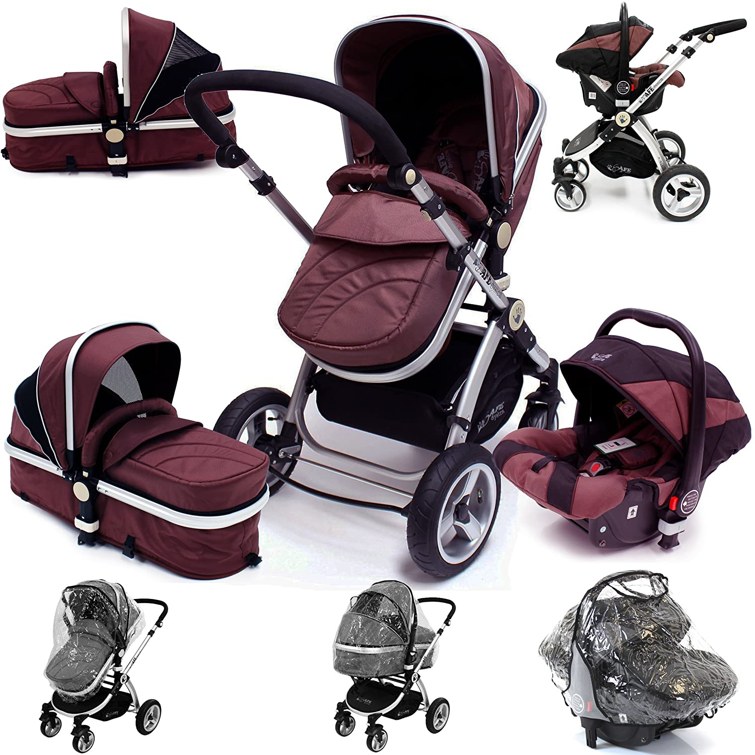 i-Safe System - Hot Chocolate Trio Travel System Pram & Stroller 3 in 1 Complete With Car Seat Shopping Basket