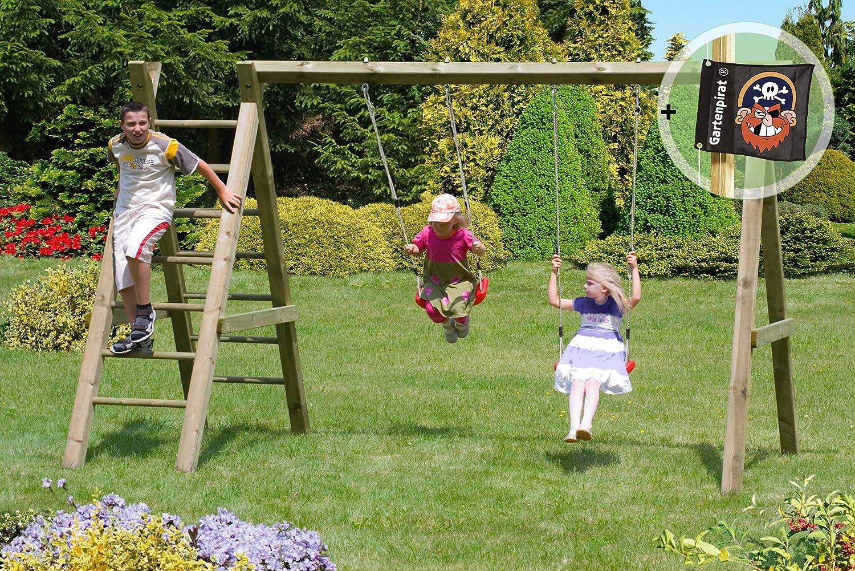 Gartenpirat Schaukelgestell Premium 2.2 Doppel-Schaukel aus Kreuz-Holz mit Leiter jetzt bestellen