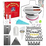 Metal Turntable Cake Decorating Set - (175 PCS CAKE DECORATING KIT) With 55 Numbered Icing Tips, BONUS Tips Chart, Aluminum Stainless Steel Rotating Cake Stand and More! (Tamaño: 175 Pieces Metal Turntable Set)