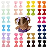 Prohouse Baby Girls Ribbon Hair Bow Clips Barrettes For Girl Teens Kids Babies Toddlers (Color: 40pcs(20pairs), Tamaño: 3 inches)
