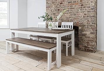Mesa de comedor Hever, 3sillas y banco en color blanco y madera oscura de pino por Noa & Nani