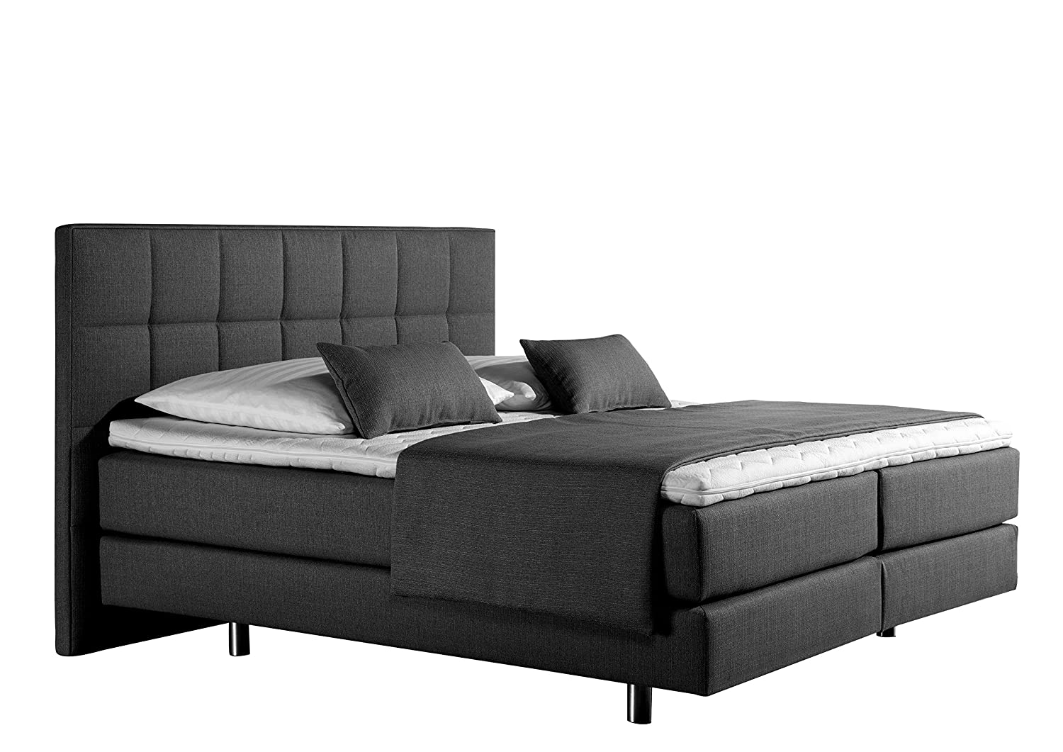Maintal Betten 237465-3159 Boxspringbett Neon 180 x 200 cm, Strukturstoff anthrazit