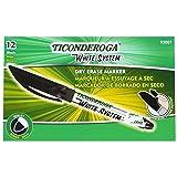 Ticonderoga Low Odor Dry Erase Markers, Fine Tip, Black, 12 Count (93007) (Color: Black)