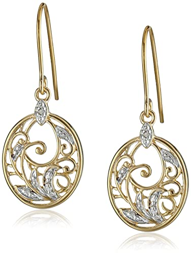 Yellow-Gold-Plated-Sterling-Silver-Diamond-Accent-Floral-Dangle-Earrings