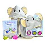 Baby Gift Set- Rub A Dub, Who's in My Tub? 5 Piece Bath Set Includes Elephant Hooded Towel, 3 Jungle Safari Squirt Toys, and Book. Adorable Baby Shower Gifts for Boys and Girls! (Color: Yellow)