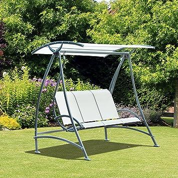 Outsunny Balancelle Balançoire de Jardin Terrasse 3 Places Pare-Soleil Réglable Textilène 1.9 x 1.26 x 1.8m Beige