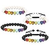 Jstyle 4Pcs Men Women 7 Chakra Diffuser Bracelet 8mm Lava Rock Natural Stone Yoga Healing Bracelet Bangle