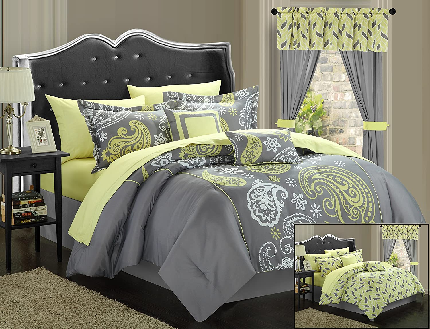 Chic Home 20-Piece Olivia Paisley Print Reversible Comforter Set, Queen, Grey/Yellow