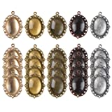 eBoot 25 Pieces Assorted Colors Pendant Trays Oval Bezels and 25 Pieces Glass Dome Tiles, Totally 50 Pieces