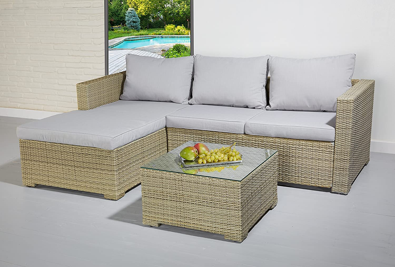 Poly Rattan Essgruppe Sitzgruppe braun grau Lounge Set Garnitur Gartenmöbel online bestellen