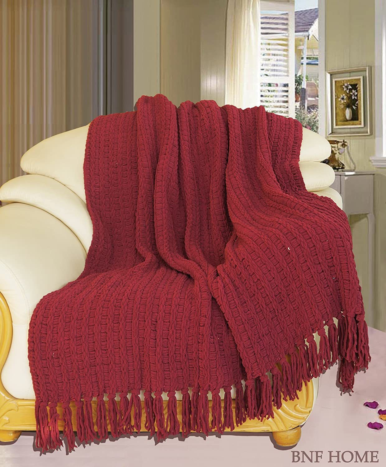 Knitted Throw in Burgundy