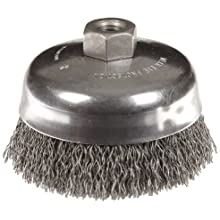 Weiler Vortex Pro Wire Cup Brush, Threaded Hole, Carbon Steel, Crimped Wire