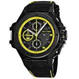 Snyper Ironclad Yellow Special Edition Black Stainless Steel Mens Automatic Chronograph Watch Leather Band - 44mm Analog Black Face with Day Date Sapphire Crystal - Swiss Watches For Men 50.260.00SP