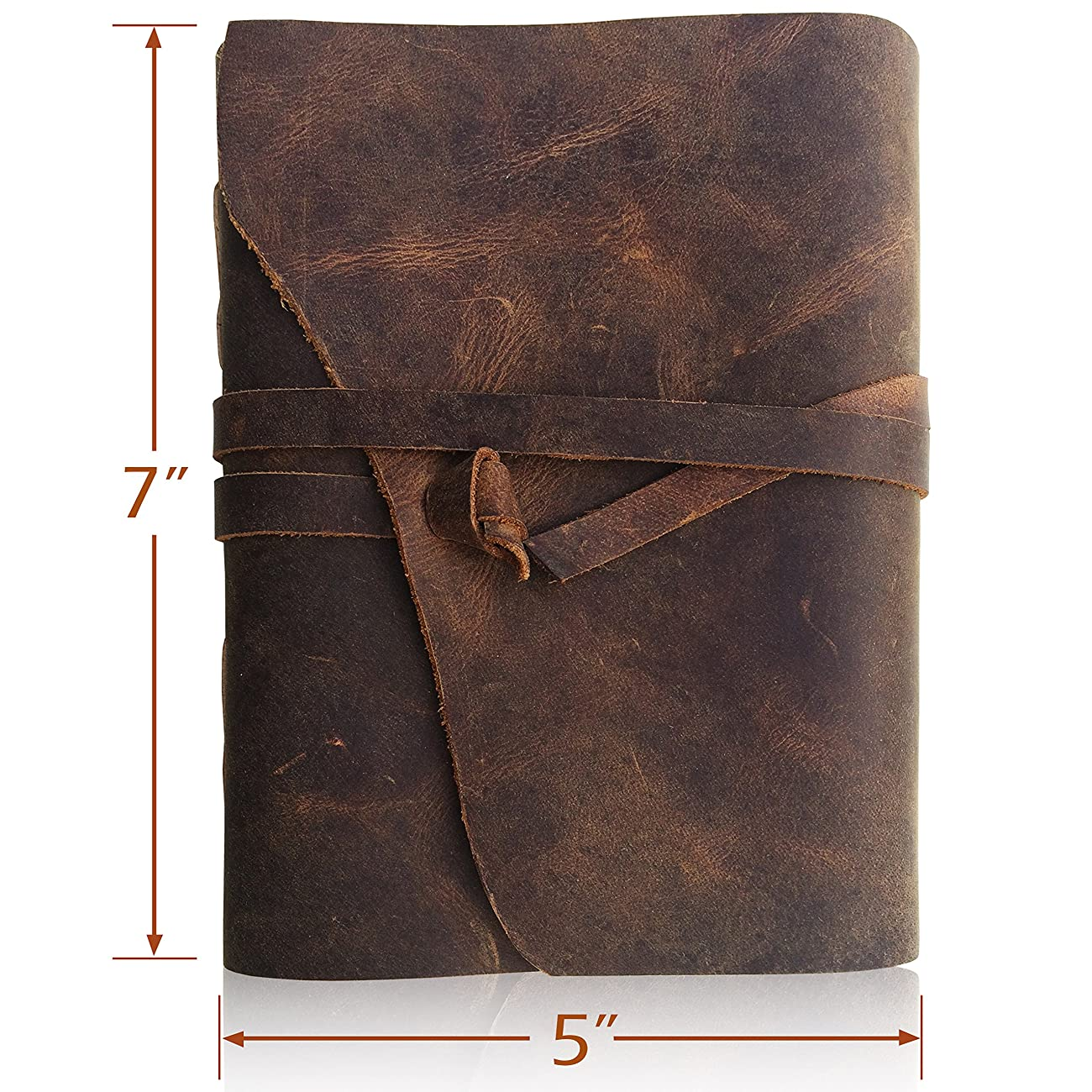 Leather Journal Writing Notebook, Antique Handmade Leather Bound Daily Notepad For Men & Women, Unlined Paper 7 x 5 Inches, Perfect Gift for Art Sketchbook, Travel Diary & Notebooks to Write in 0