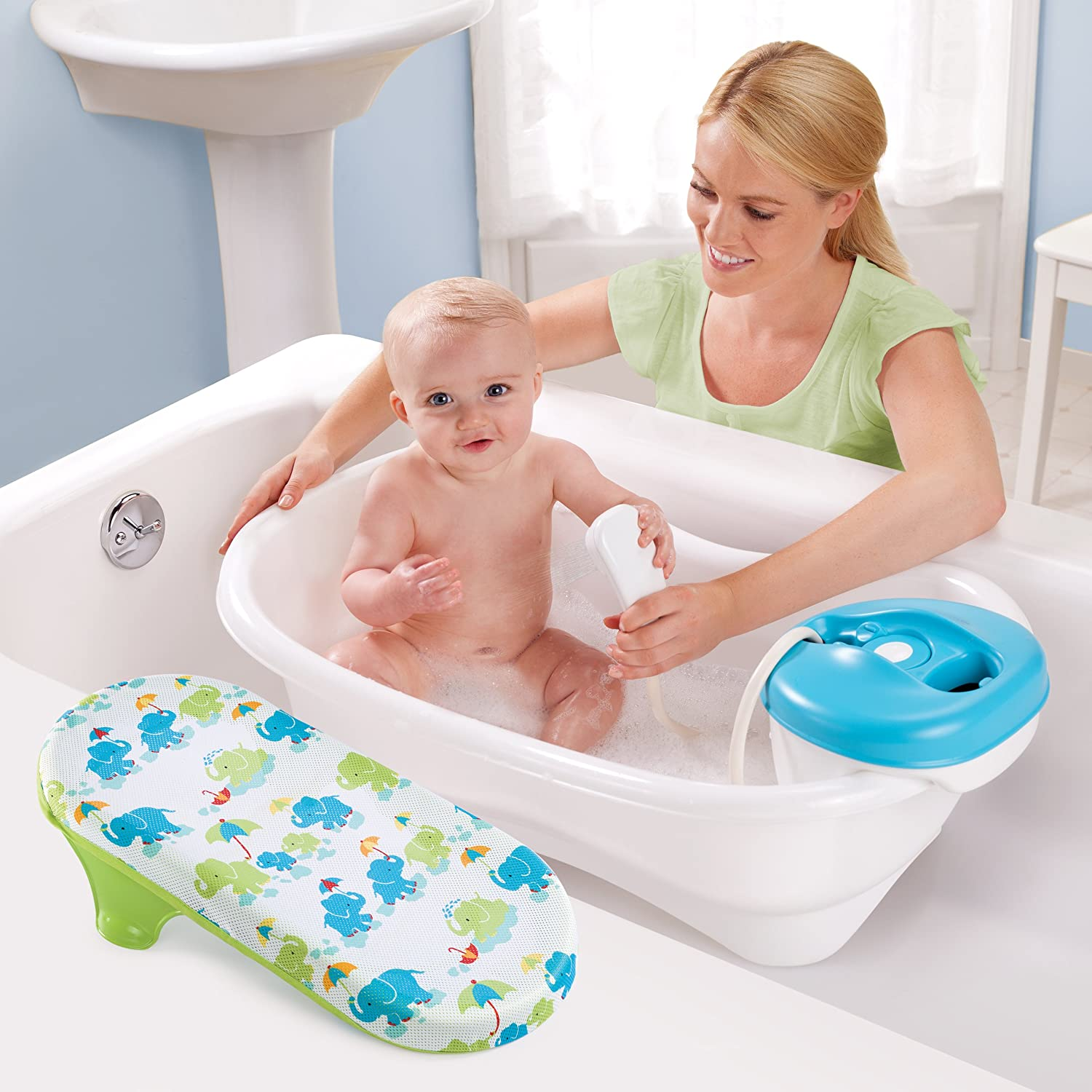 new convenient newborn to toddler bath and shower tub summer infant sling. Black Bedroom Furniture Sets. Home Design Ideas