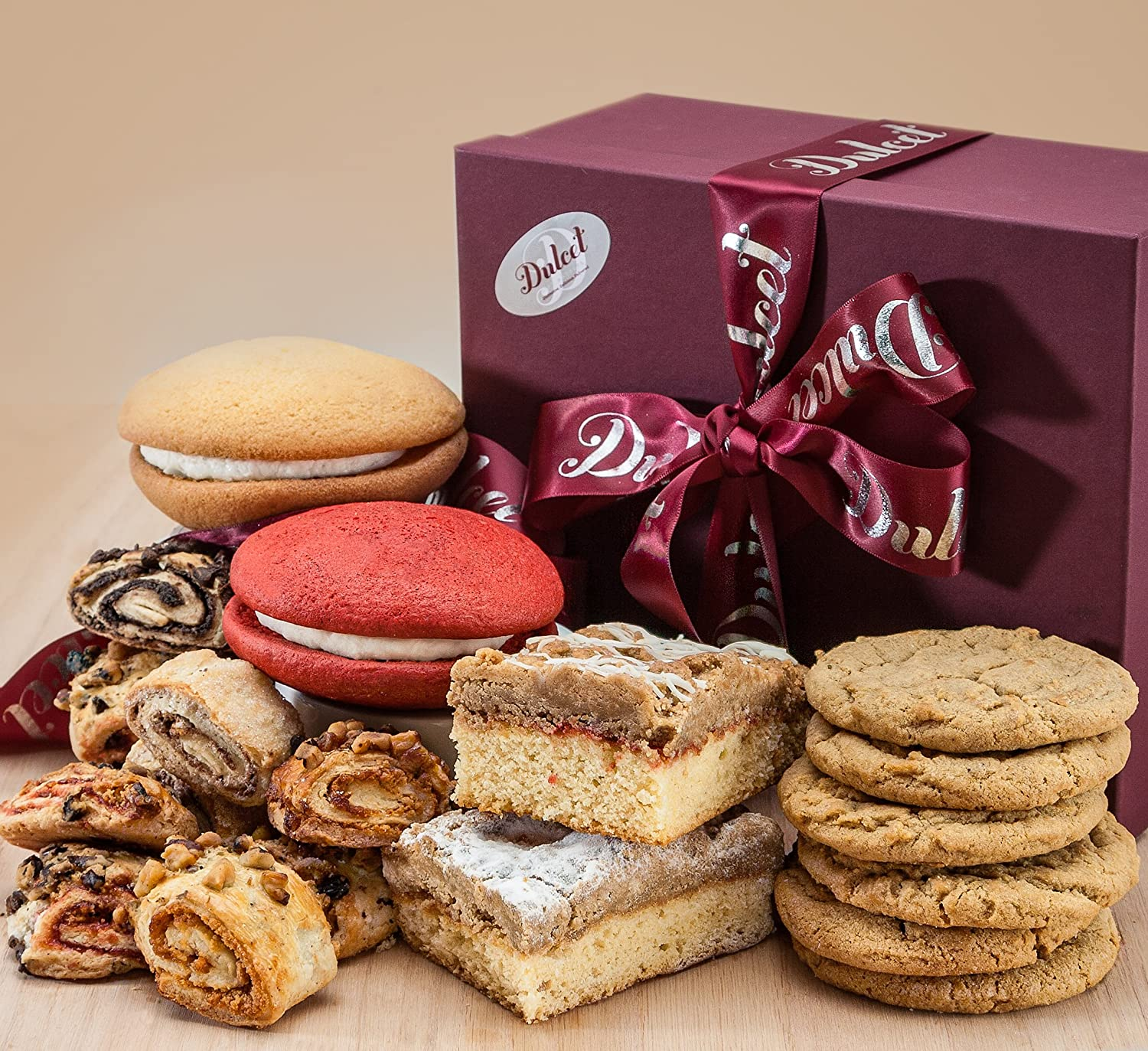 Cookies, Ruggelach, Whoopie Pies, and Crumb Cake filled in Dulcet's Bakery Gift Basket