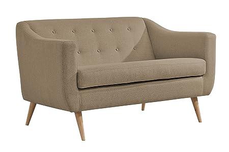 Slaap Sofá & Chaise - Sofá de dos plazas estilo nórdico.Color trufa. Medidas 140x80x85cm.