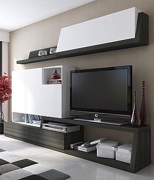 Conjunto de muebles para salón o comedor en color blanco y antracita. Incluye módulo bajo de TV y multimedia, mueble compacto y estante con vitrina.