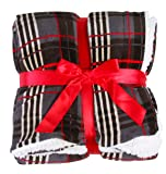 Soft Plaid Print Reversible Winter Blanket Home Decor Throw