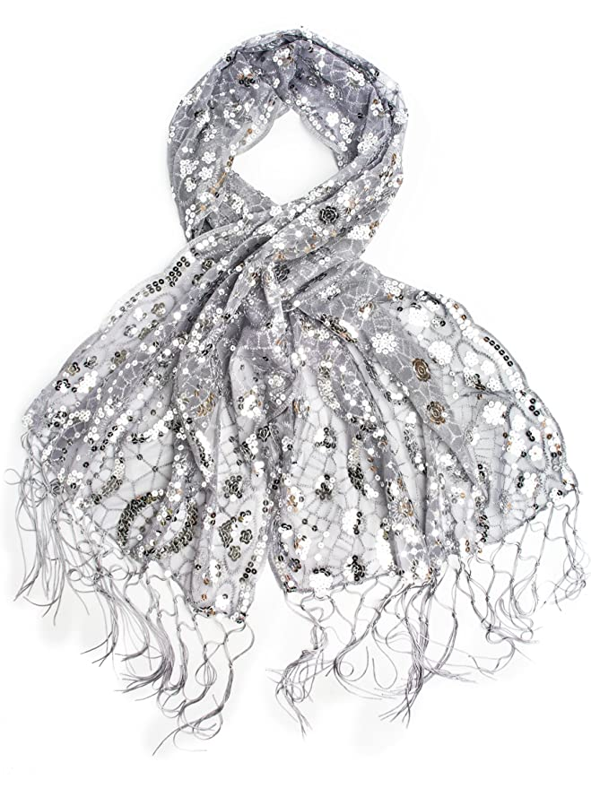 Vintage Scarves- New in the 1920s to 1960s Styles Vera Vintage Inspired Sequin Shawl Evening Wrap Embroidered Sequin Fringe Shawl or Scarf $18.95 AT vintagedancer.com