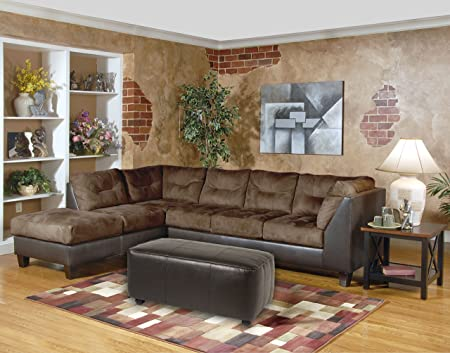 Roundhill Furniture Marinio Chocolate Microfiber and Faux Leather Left Chaise Sectional Sofa