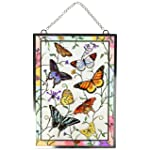 Amia Window Décor Panel Features a Colorful Butterfly Design, 11-Inches Width by 15.5-Inches Length, Handpainted Glass