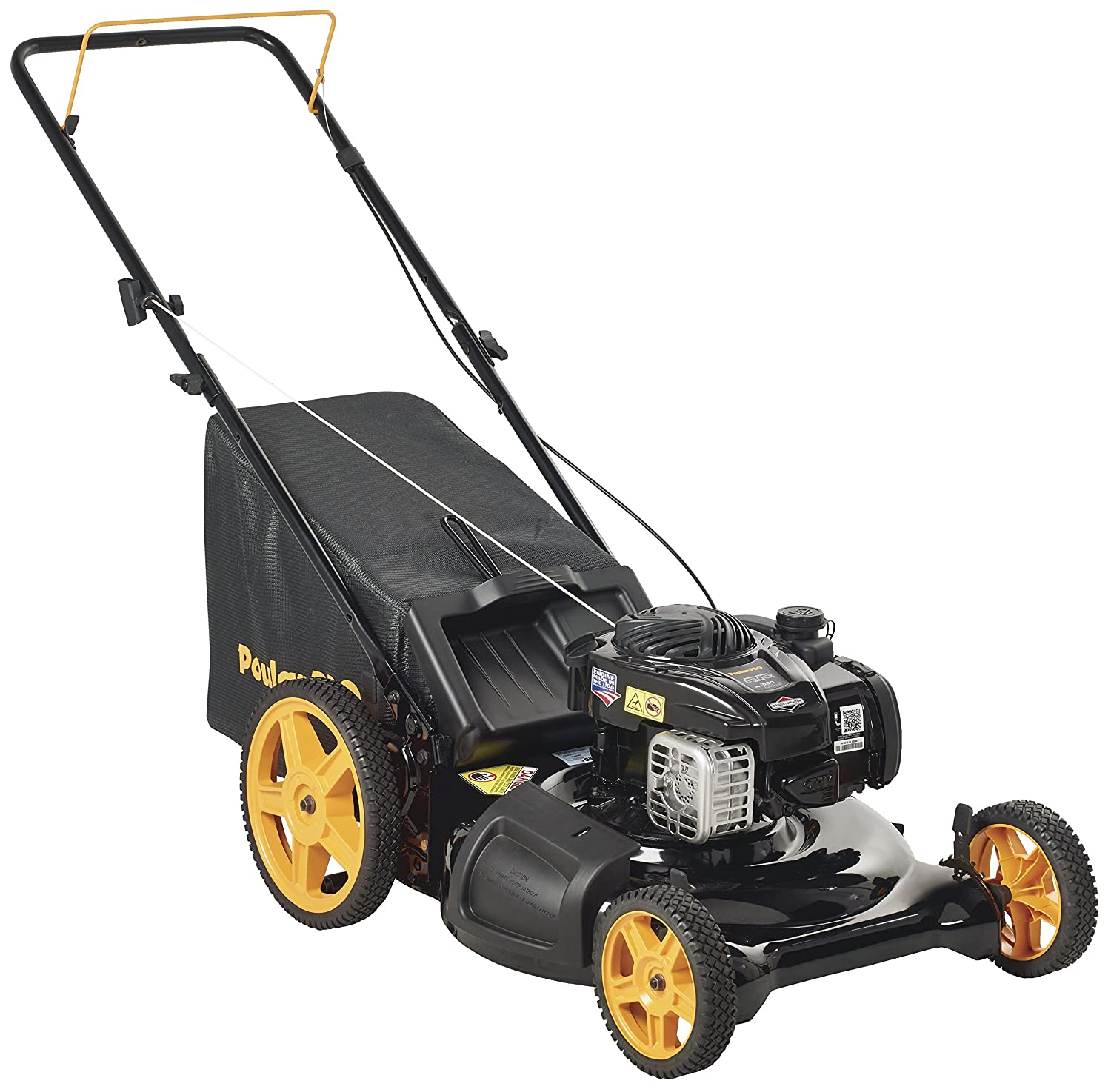 Poulan Pro 961320093 PR550N21RH3 Briggs 550ex Side Discharge/Mulch/Bag 3-in-1 Hi-Wheel Push Mower in 21-Inch Deck