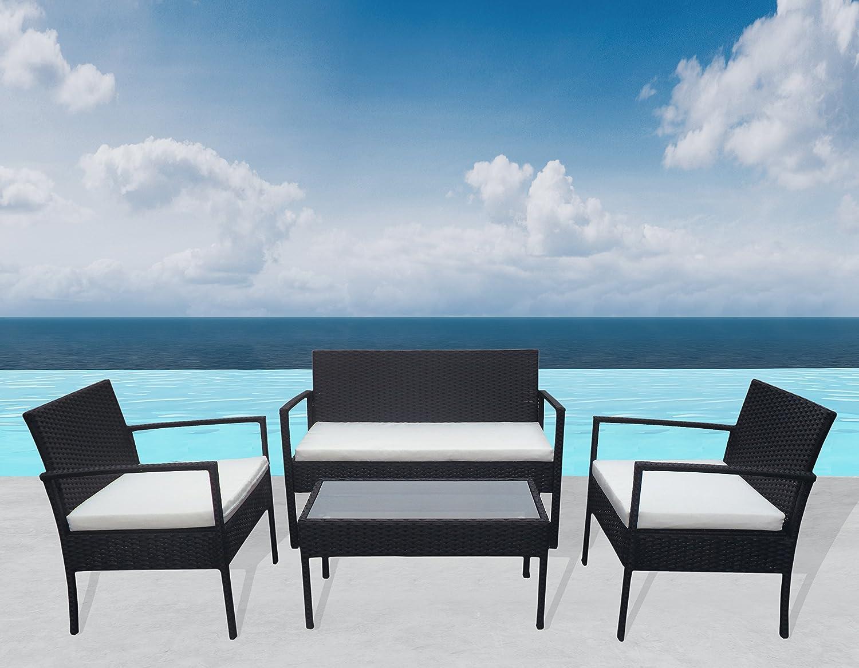 """Outdoor Sitzgruppe """"Greece"""" Lounge Schwarz Gartenset Sofa Garnitur Polyrattan Gartenmöbel Poly Rattan 7 tlg. bestellen"""