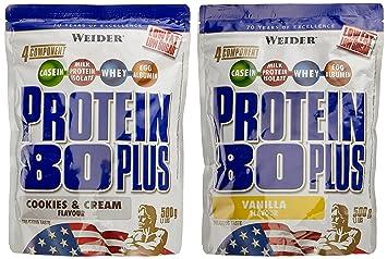 Weider Protein 80 Plus Beutel 2er Mix Pack (2 x 500 g) Cookies und Cream/Vanille, 1er Pack (1 x 1 kg)