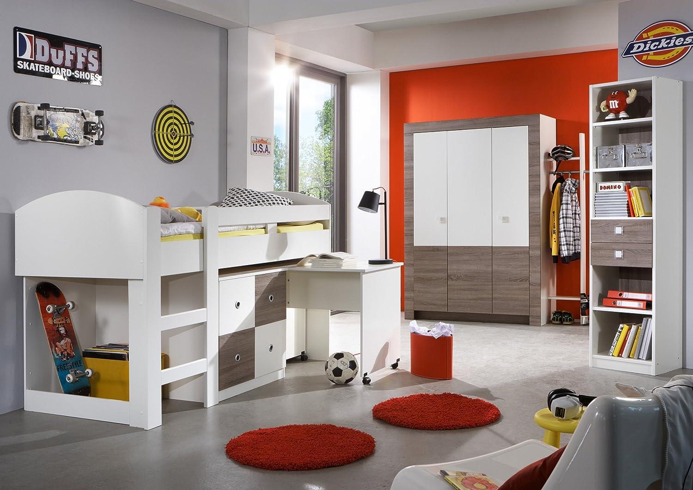 Jugendzimmer mit Bett 90 x 200 cm alpinweiss/ Montana Eiche günstig bestellen