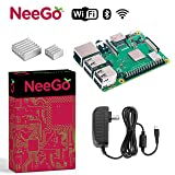 NeeGo Raspberry Pi 3 B+ (B Plus) Starter Kit Pi 3 Model B Barebones Computer Motherboard with 64bit Quad Core CPU & 1GB RAM, 2.5A Power Supply & Heatsink 2-Pack