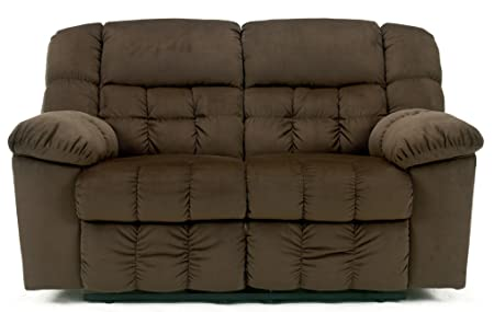 Contemporary Chocolate Colored Lowell Reclining Loveseat