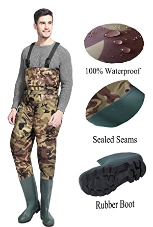 100/% Waterproof PVC Nylon Chest Waders Fishing Rubber Boot Foot w// Cleated Sole
