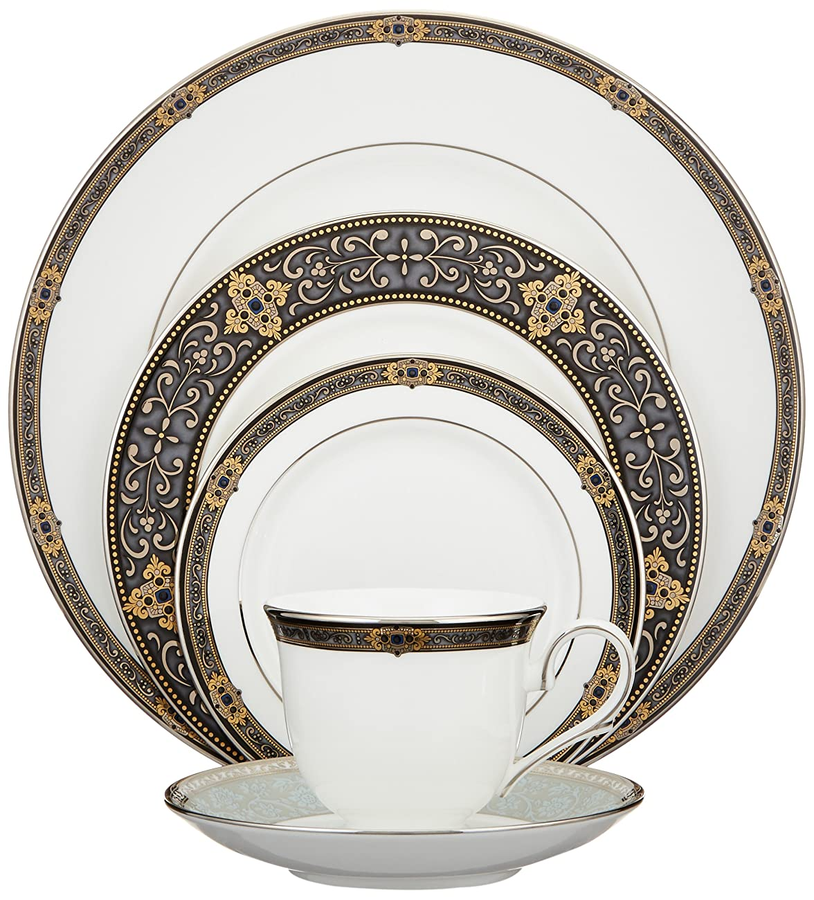 Lenox Vintage Jewel Platinum-Banded Bone China 5-Piece Place Setting, Service for 1 0