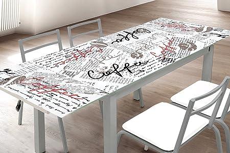 Mesa de cocina extensible en cristal templado. 170x70cm